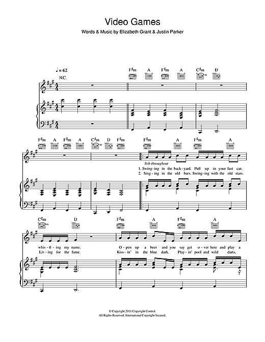 Lana Del Rey Video Games sheet music notes and chords. Download Printable PDF.