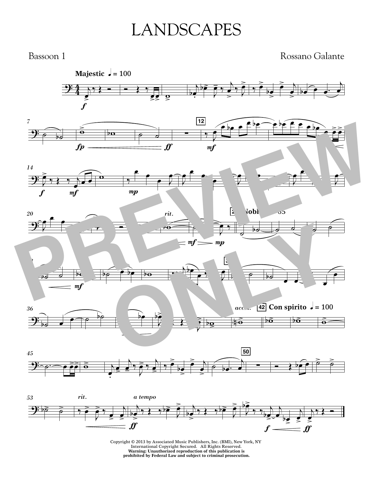 Rosanno Galante Landscapes - Bassoon 1 sheet music notes printable PDF score