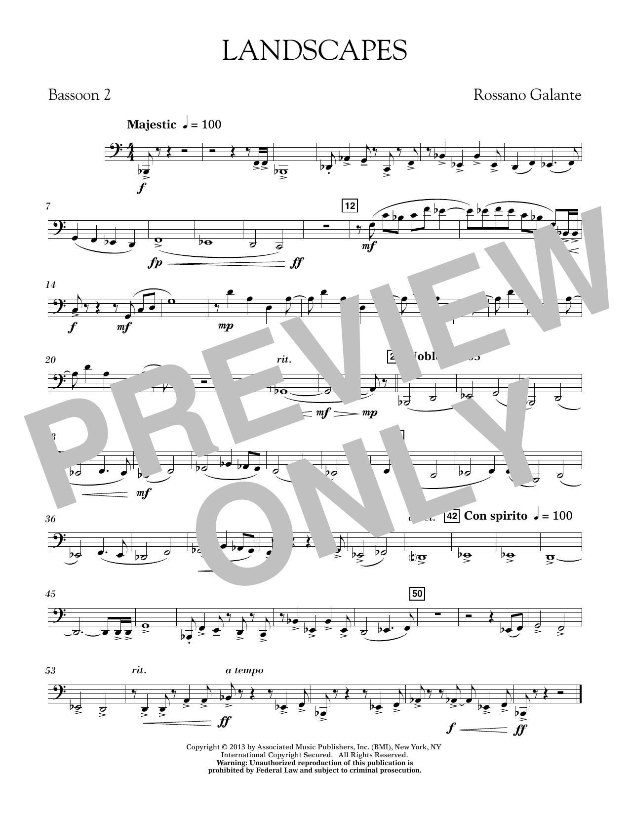 Rosanno Galante Landscapes - Bassoon 2 sheet music notes printable PDF score