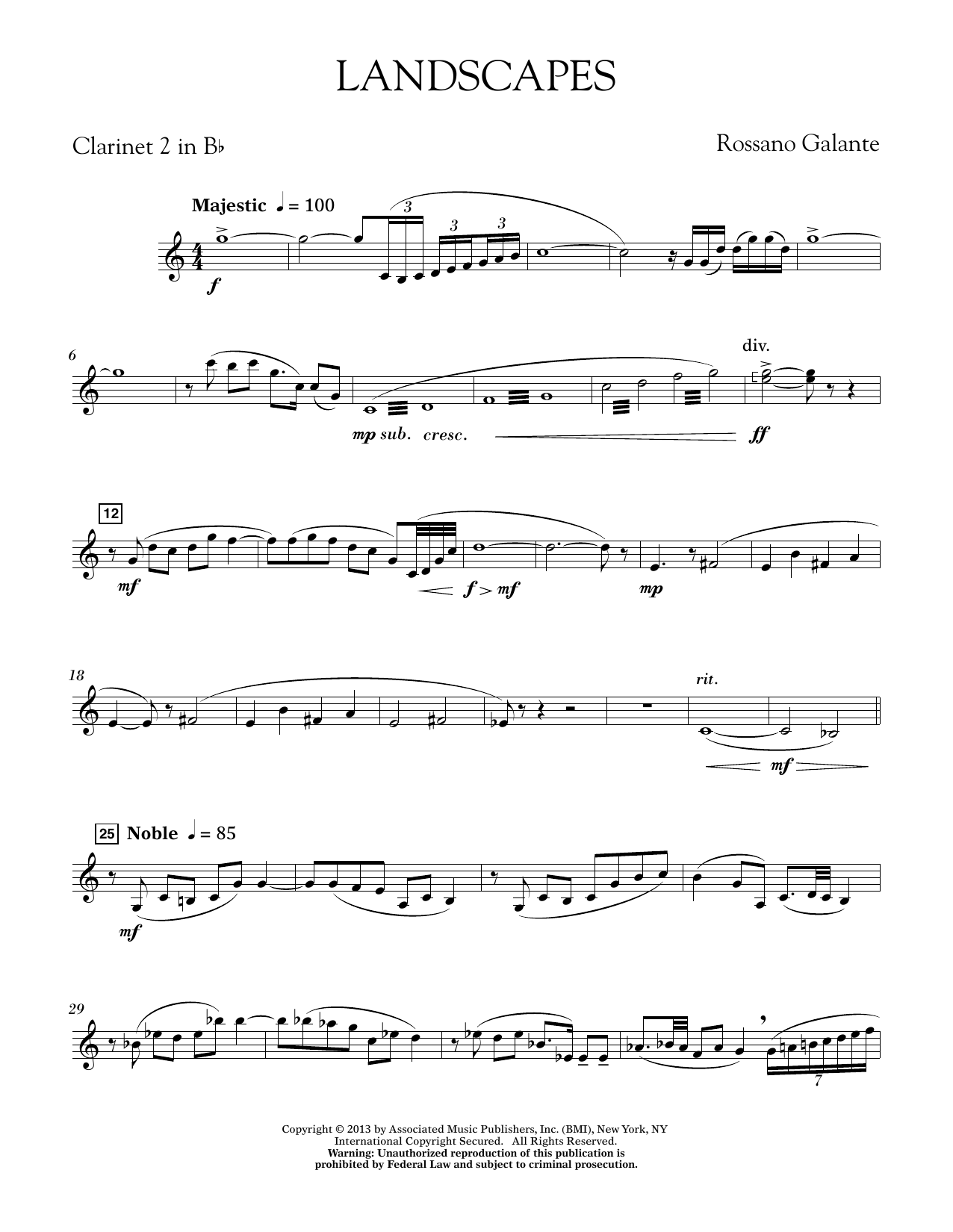 Rosanno Galante Landscapes - Bb Clarinet 2 sheet music notes printable PDF score