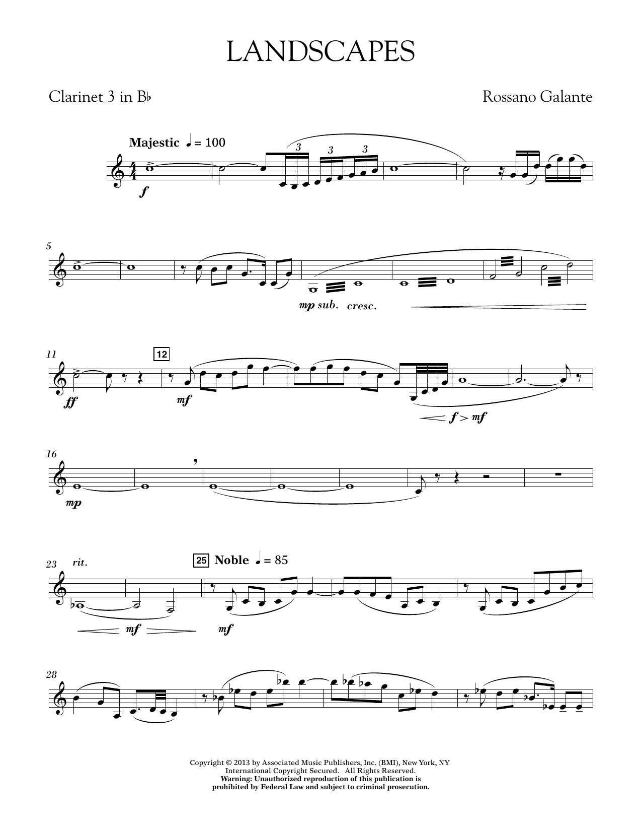 Rosanno Galante Landscapes - Bb Clarinet 3 sheet music notes printable PDF score