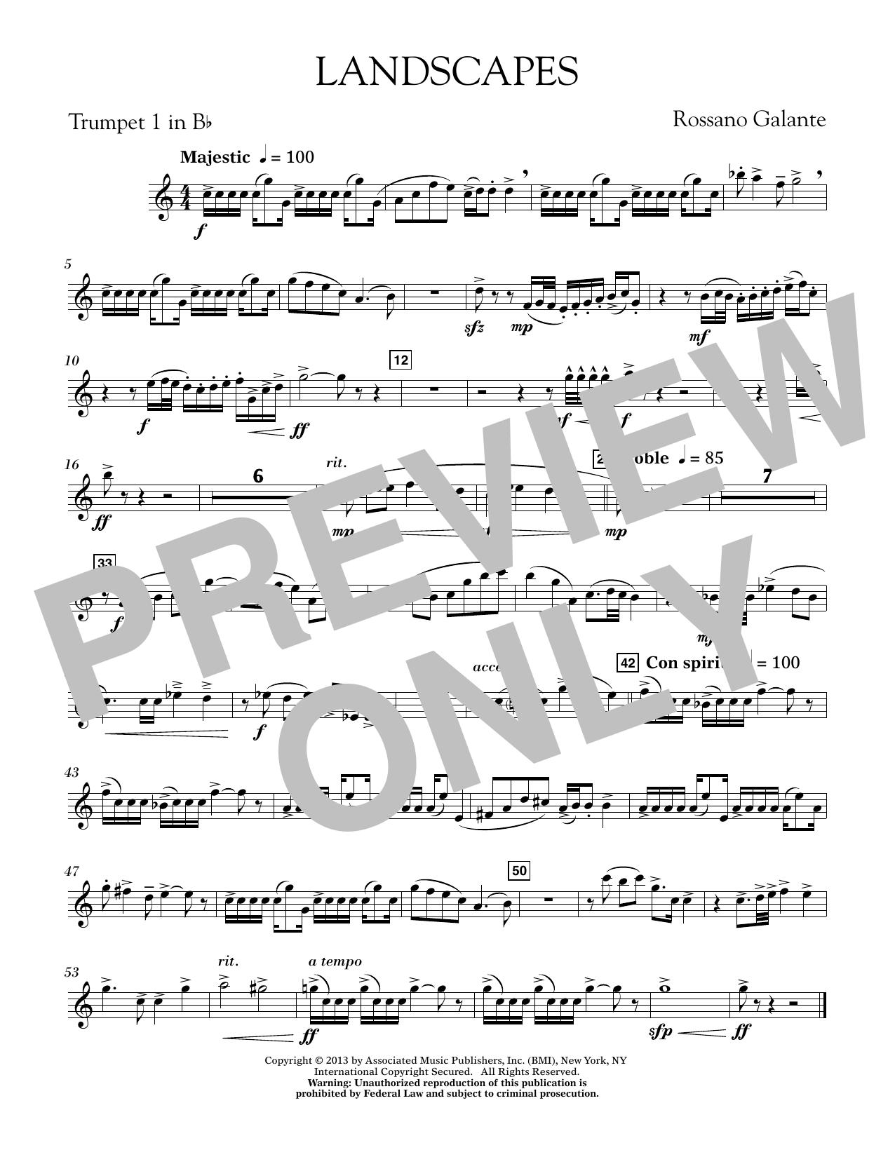 Rosanno Galante Landscapes - Bb Trumpet 1 sheet music notes printable PDF score