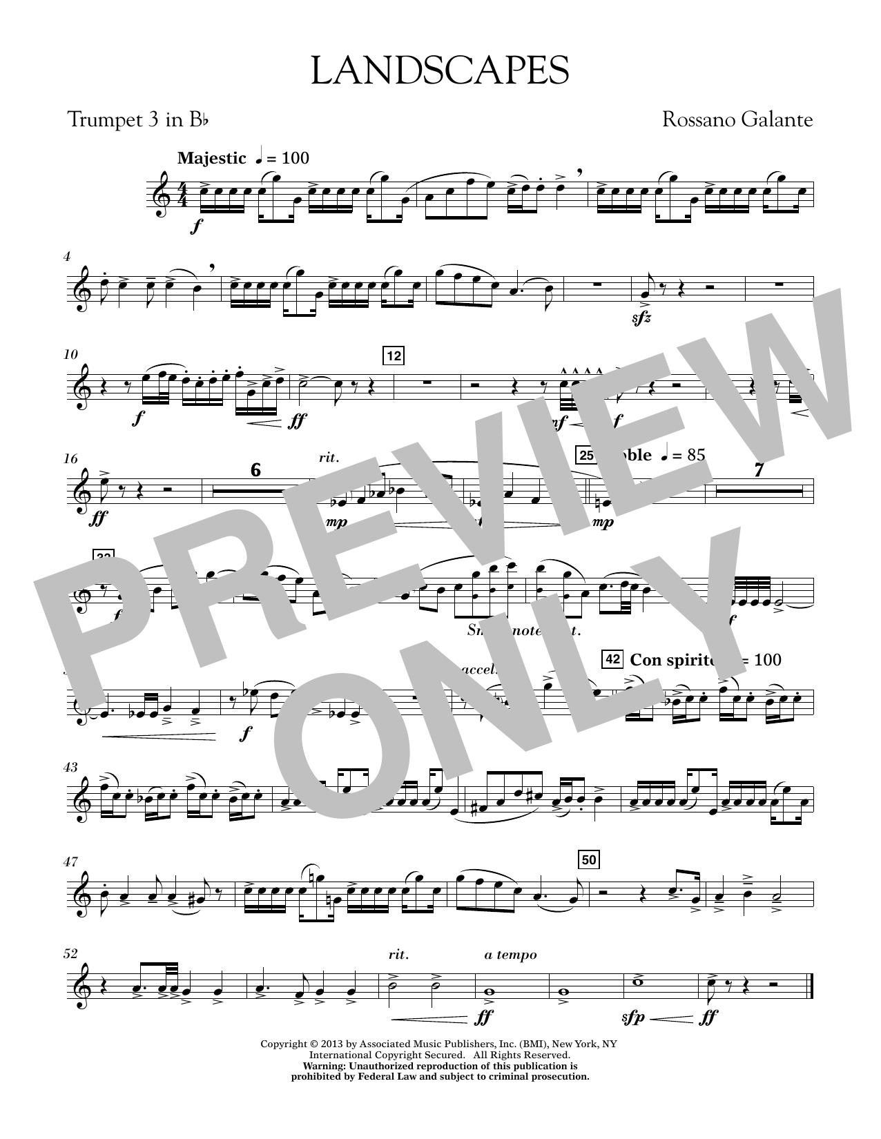 Rosanno Galante Landscapes - Bb Trumpet 3 sheet music notes printable PDF score