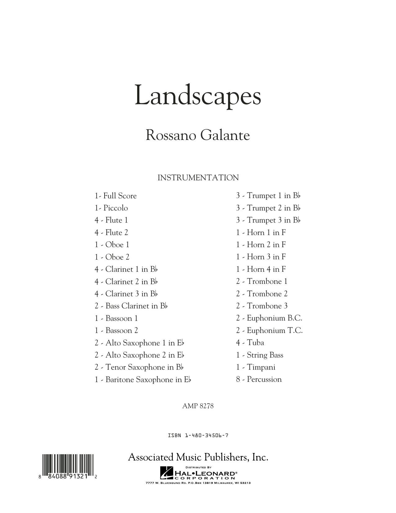 Rosanno Galante Landscapes - Conductor Score (Full Score) sheet music notes printable PDF score