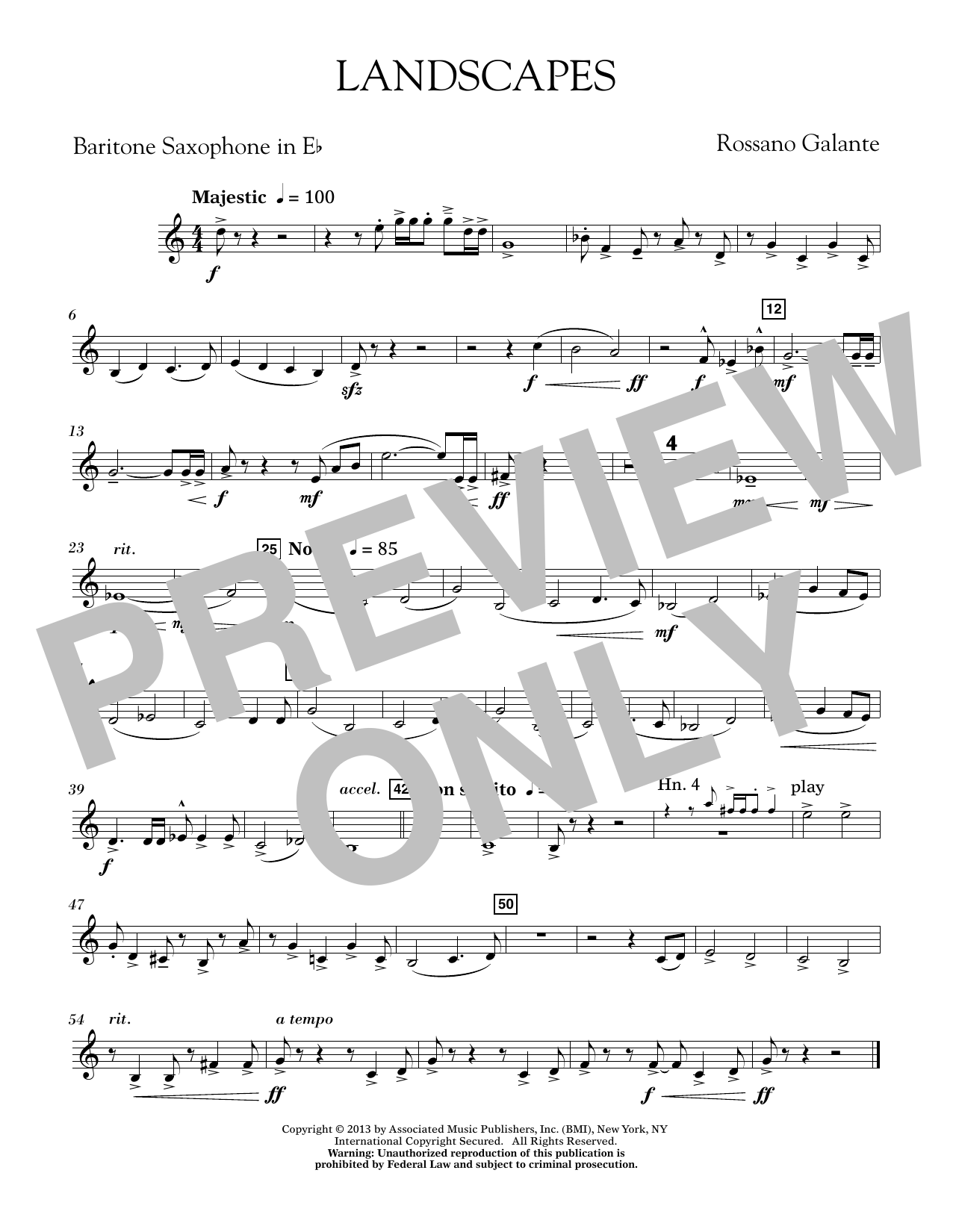 Rosanno Galante Landscapes - Eb Baritone Saxophone sheet music notes printable PDF score