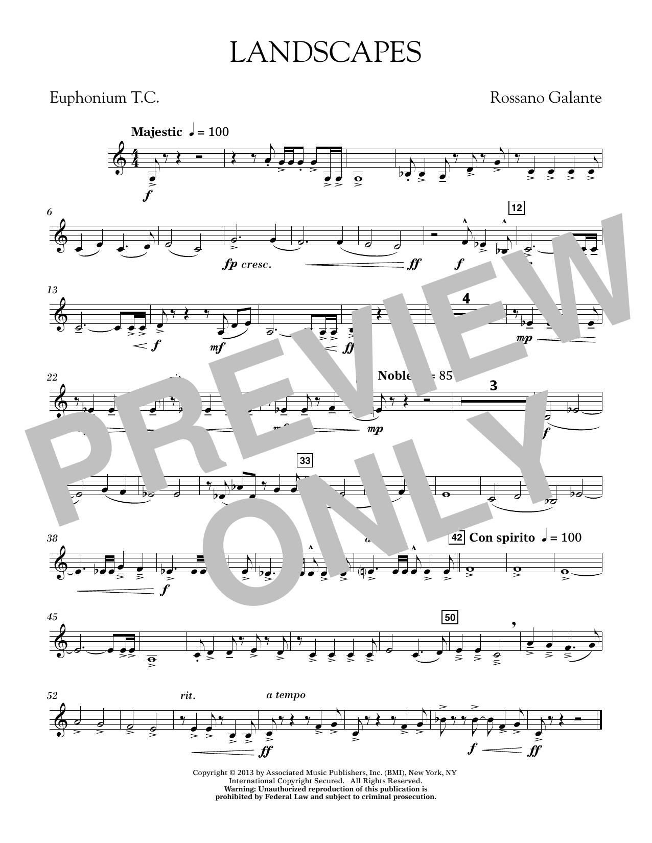 Rosanno Galante Landscapes - Euphonium in Treble Clef sheet music notes printable PDF score