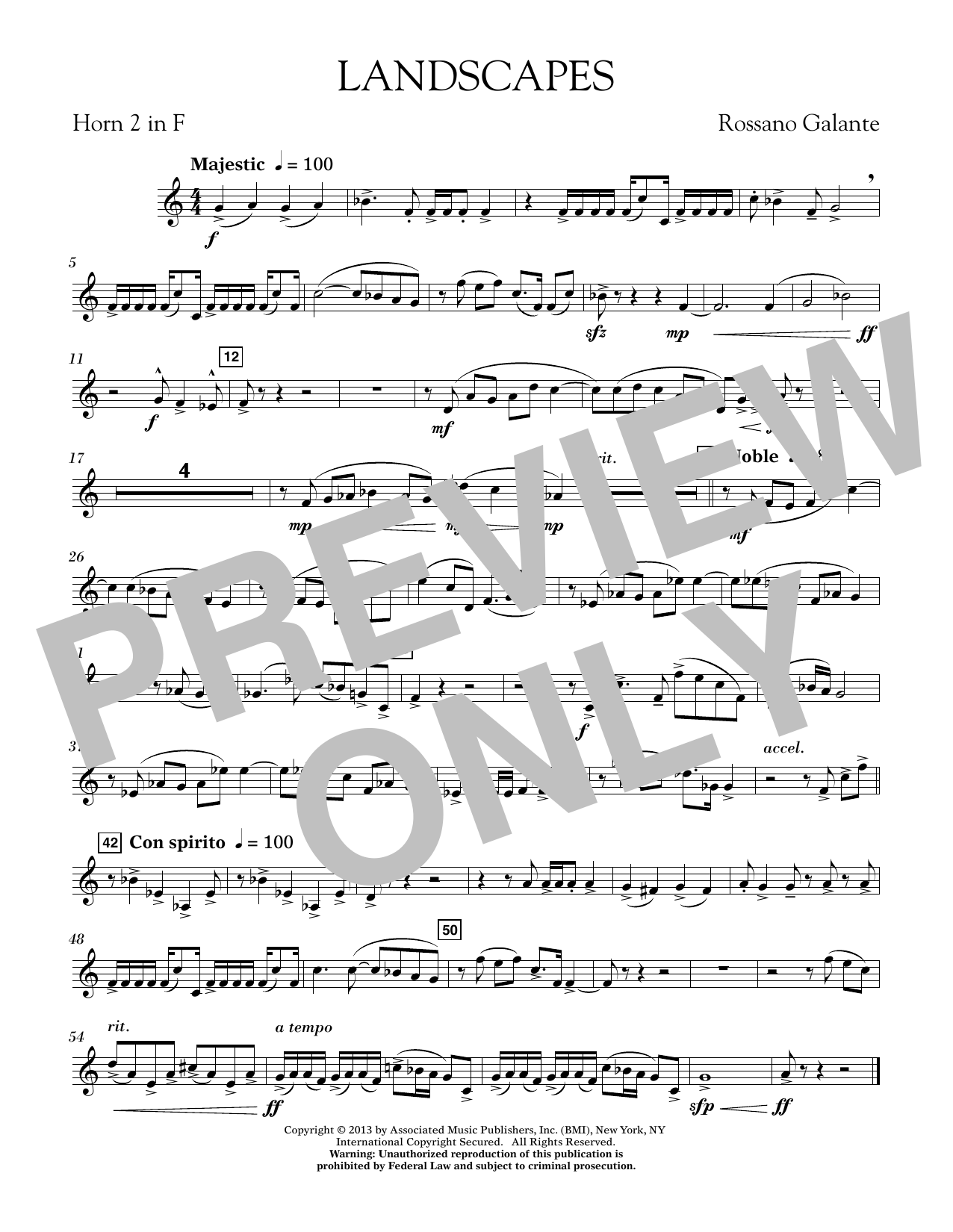Rosanno Galante Landscapes - F Horn 2 sheet music notes printable PDF score