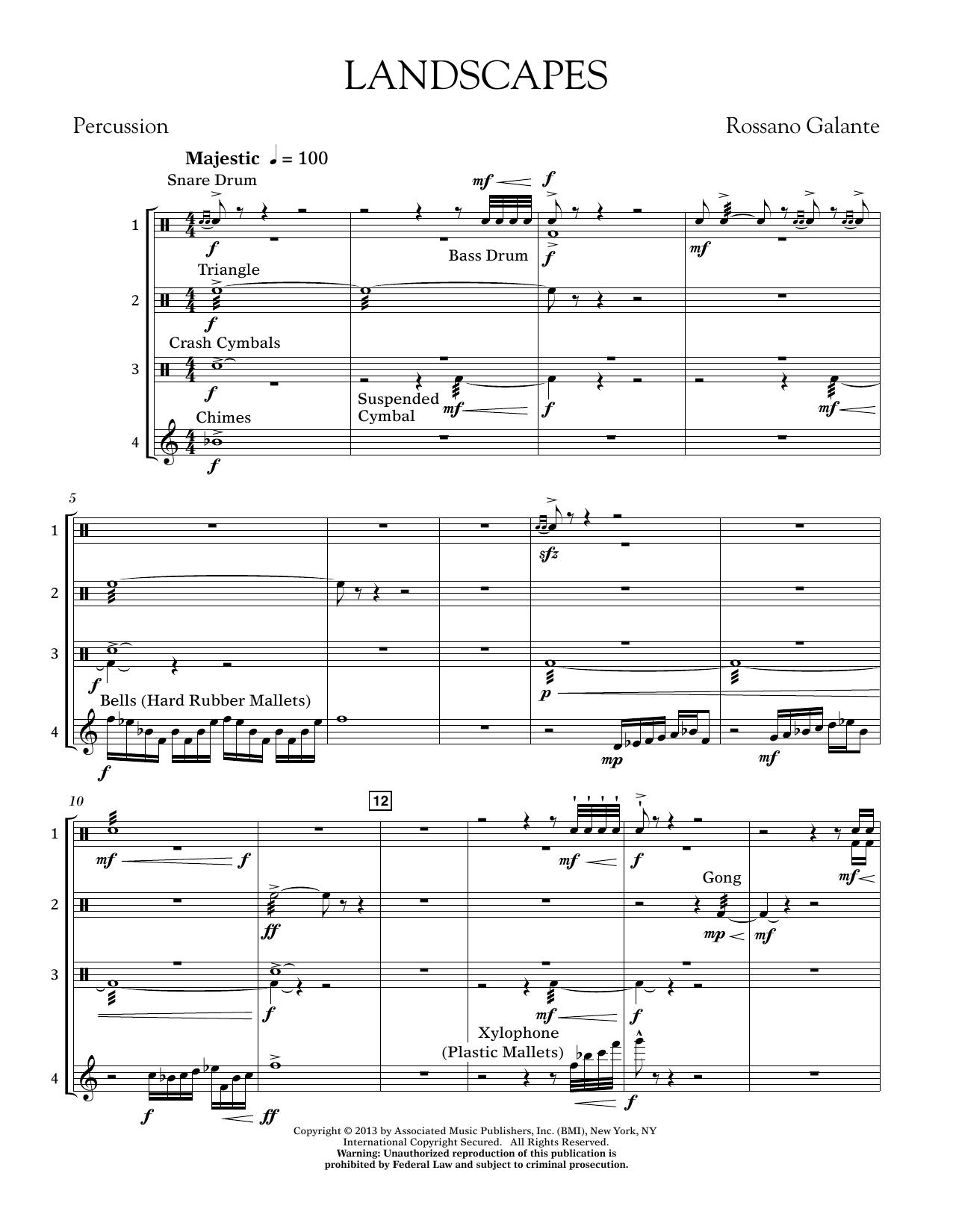 Rosanno Galante Landscapes - Percussion Score sheet music notes printable PDF score