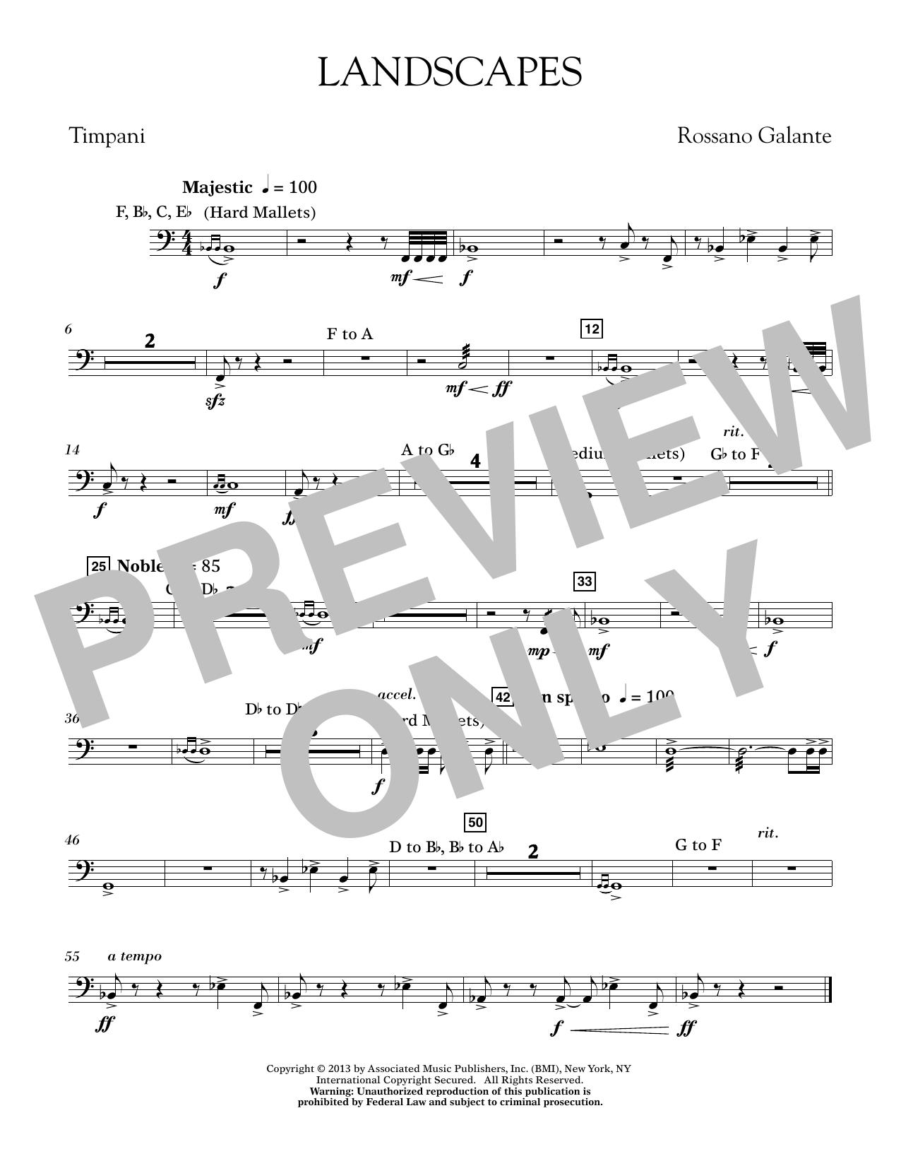 Rosanno Galante Landscapes - Timpani sheet music notes printable PDF score