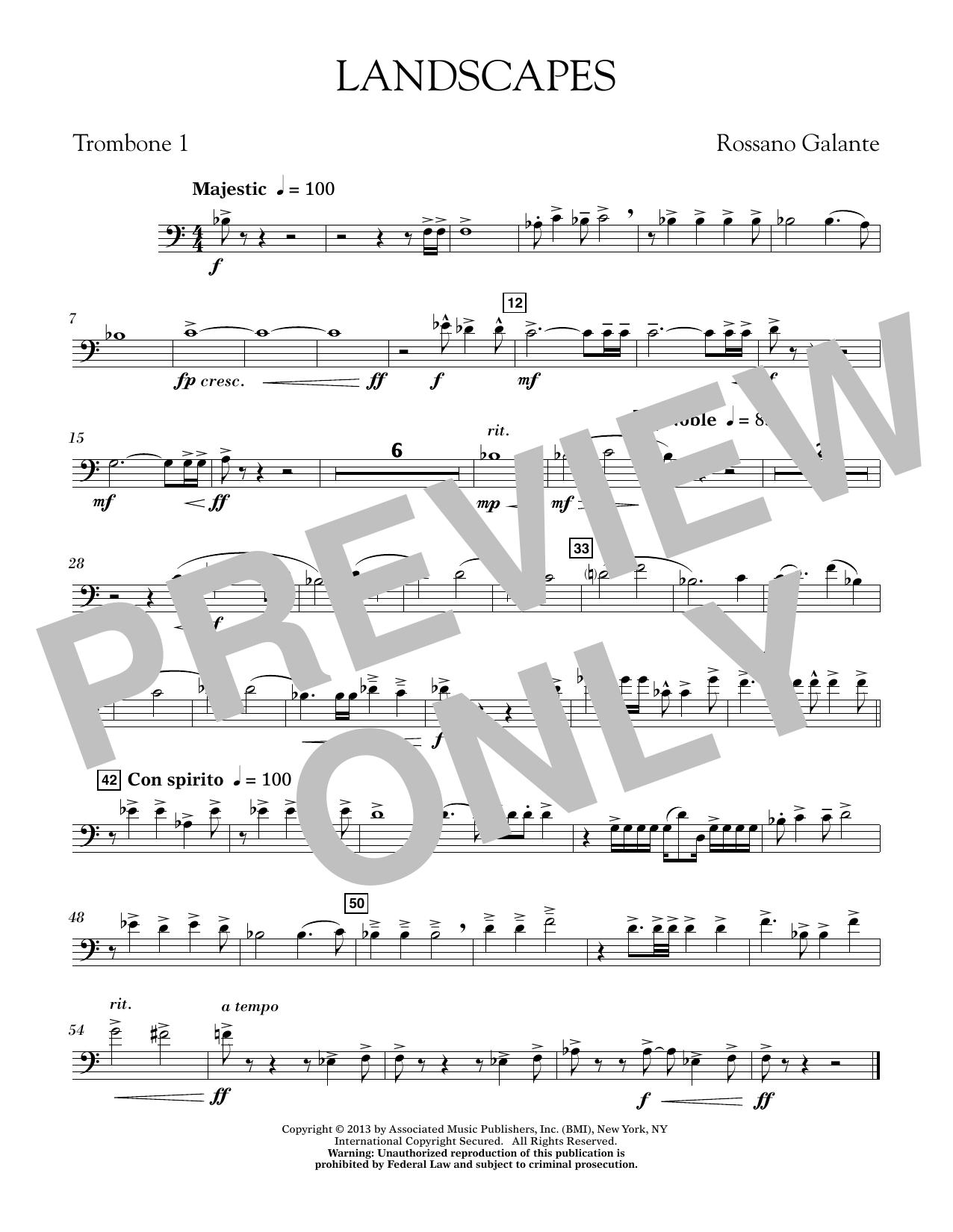 Rosanno Galante Landscapes - Trombone 1 sheet music notes printable PDF score