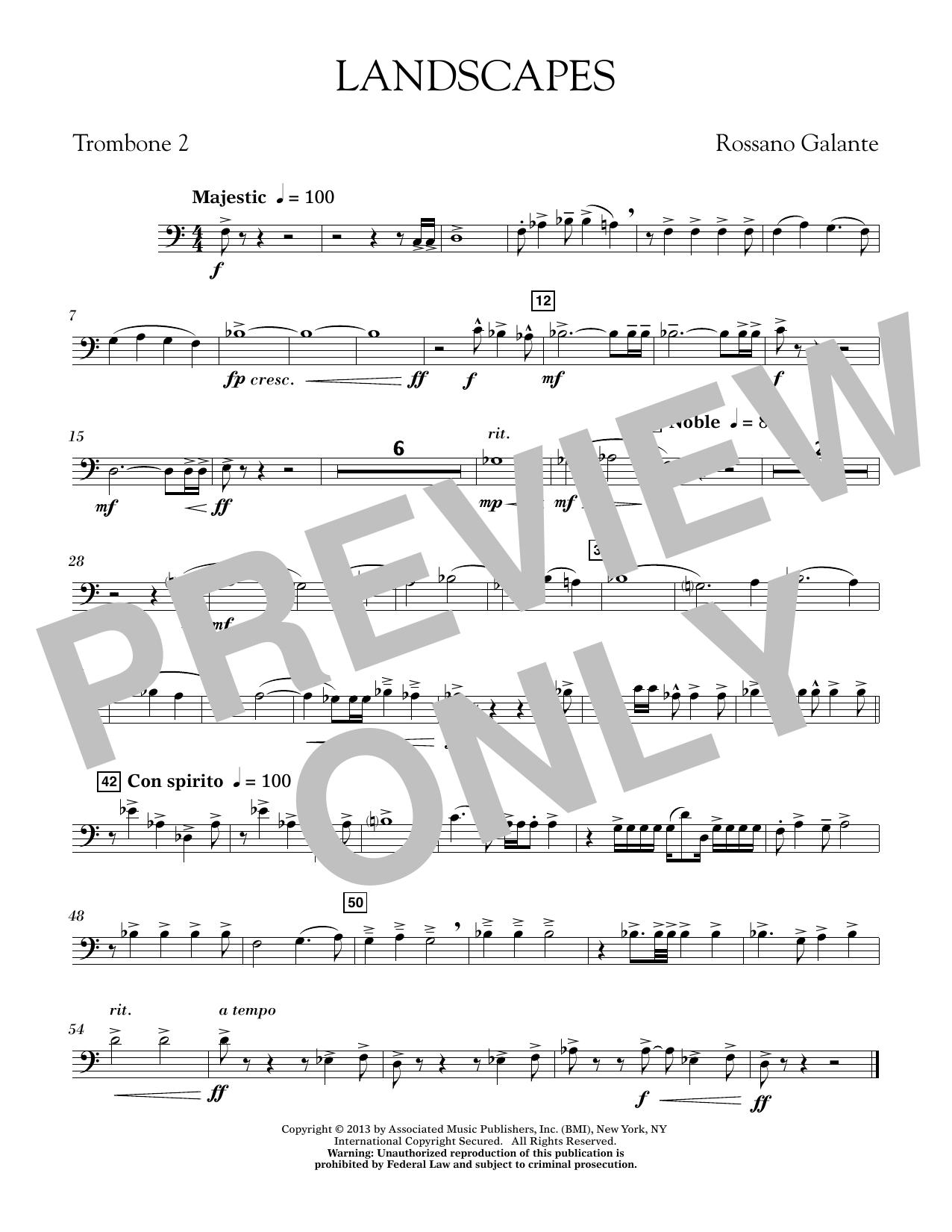 Rosanno Galante Landscapes - Trombone 2 sheet music notes printable PDF score
