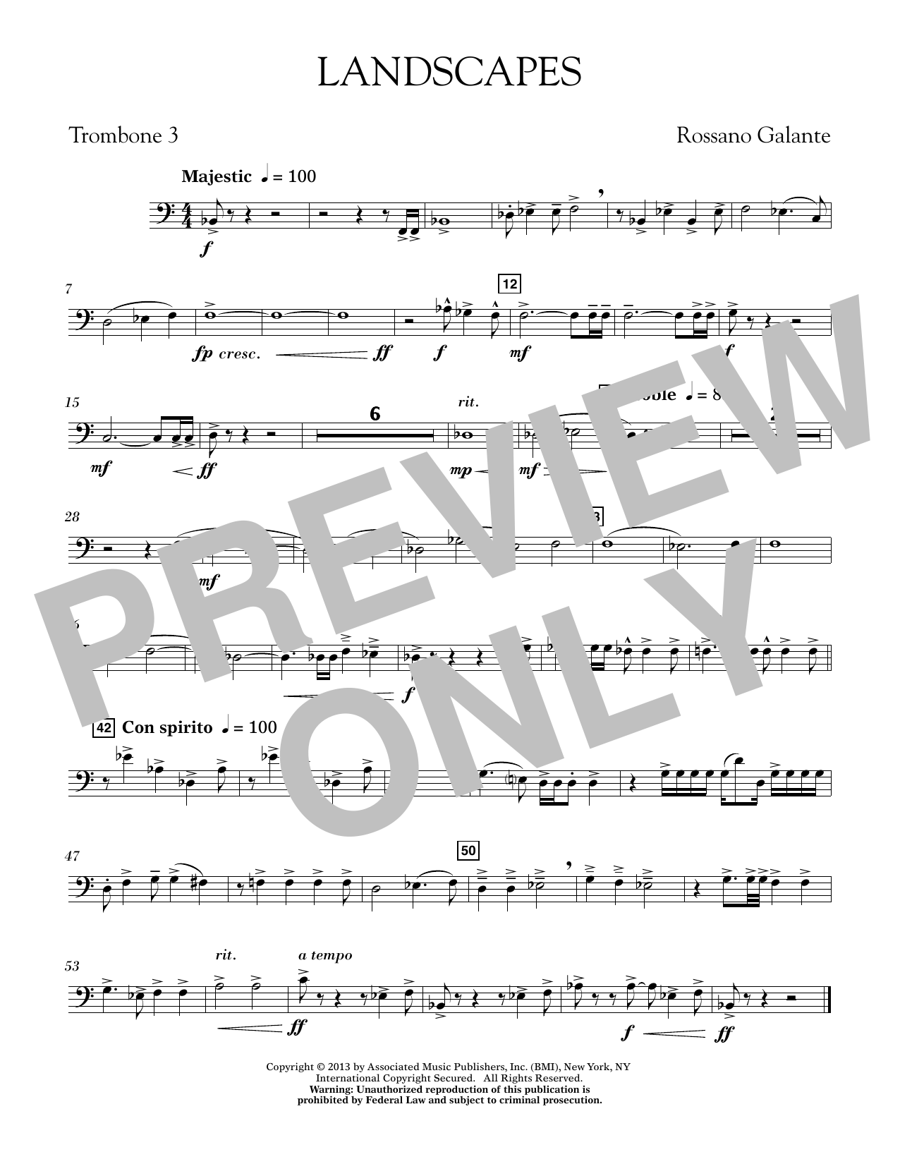 Rosanno Galante Landscapes - Trombone 3 sheet music notes printable PDF score
