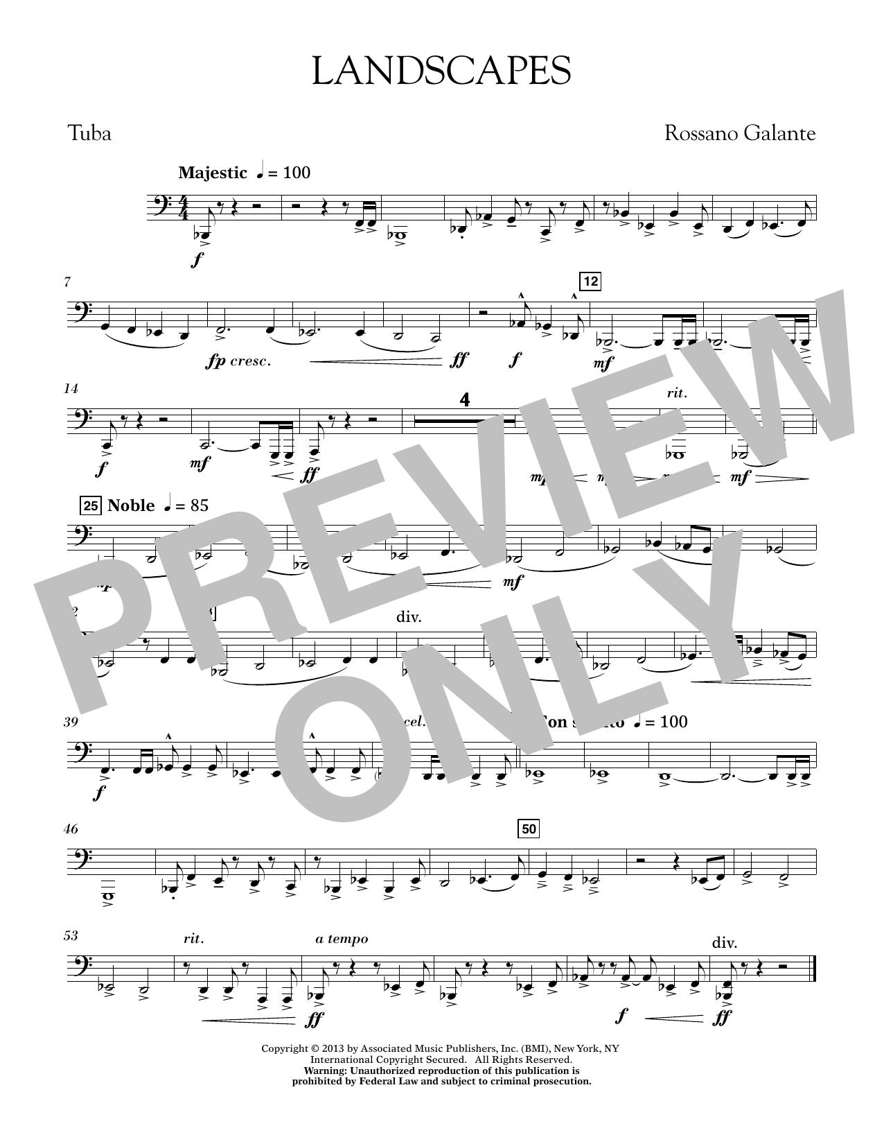 Rosanno Galante Landscapes - Tuba sheet music notes printable PDF score