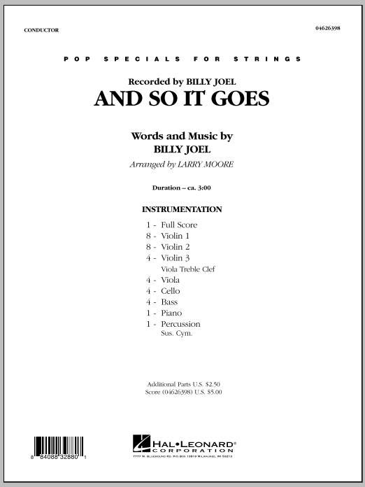 Larry Moore And So It Goes - Full Score sheet music notes and chords. Download Printable PDF.