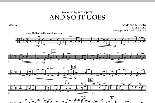 Larry Moore And So It Goes - Viola sheet music notes and chords. Download Printable PDF.