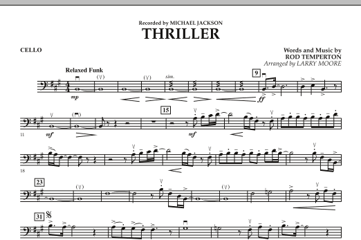Larry Moore Thriller - Cello sheet music notes and chords. Download Printable PDF.