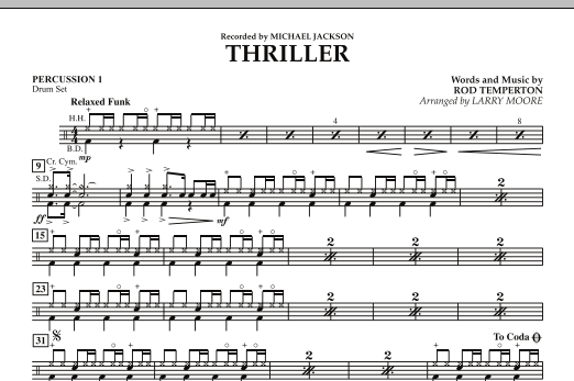 Larry Moore Thriller - Percussion 1 sheet music notes and chords. Download Printable PDF.