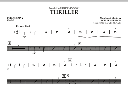 Larry Moore Thriller - Percussion 2 sheet music notes and chords. Download Printable PDF.