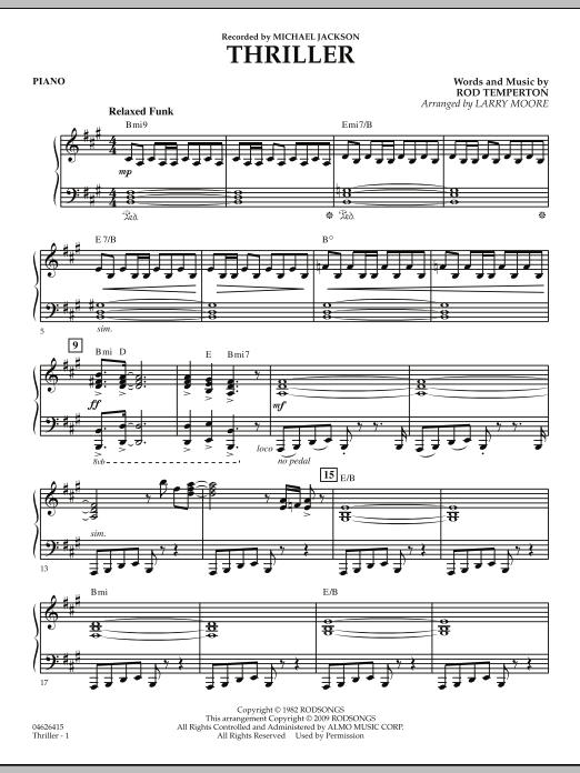 Larry Moore Thriller - Piano sheet music notes and chords. Download Printable PDF.