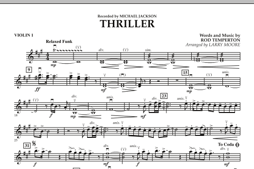 Larry Moore Thriller - Violin 1 sheet music notes and chords. Download Printable PDF.