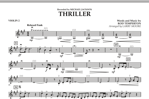 Larry Moore Thriller - Violin 2 sheet music notes and chords. Download Printable PDF.