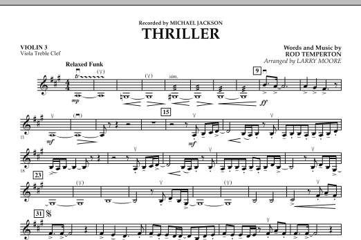 Larry Moore Thriller - Violin 3 (Viola T.C.) sheet music notes and chords. Download Printable PDF.