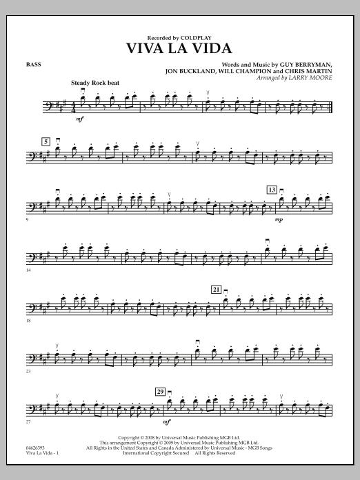 Larry Moore Viva La Vida - Bass sheet music notes and chords. Download Printable PDF.