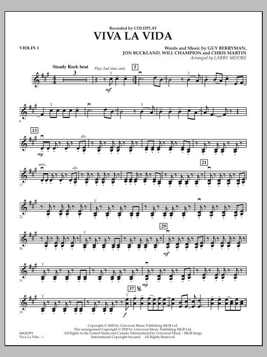 Larry Moore Viva La Vida - Violin 1 sheet music notes and chords. Download Printable PDF.