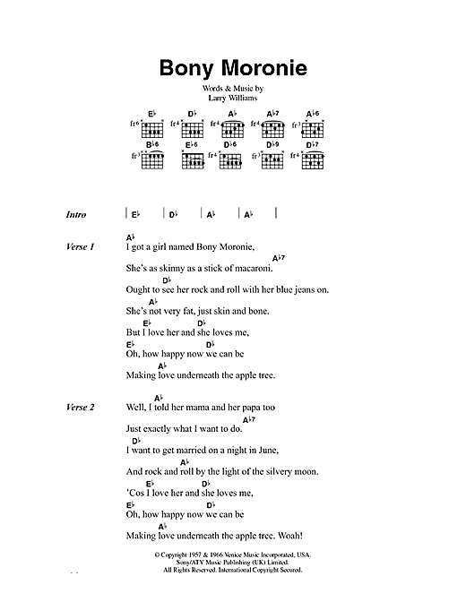 Larry Williams Bony Moronie sheet music notes and chords. Download Printable PDF.