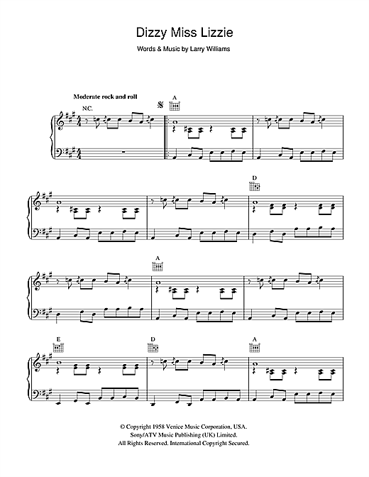Larry Williams Dizzy Miss Lizzy sheet music notes and chords. Download Printable PDF.