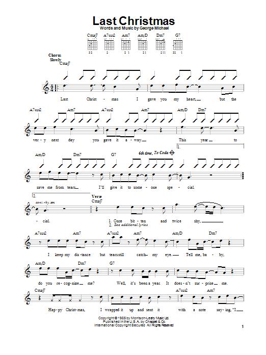 Wham! Last Christmas sheet music notes printable PDF score