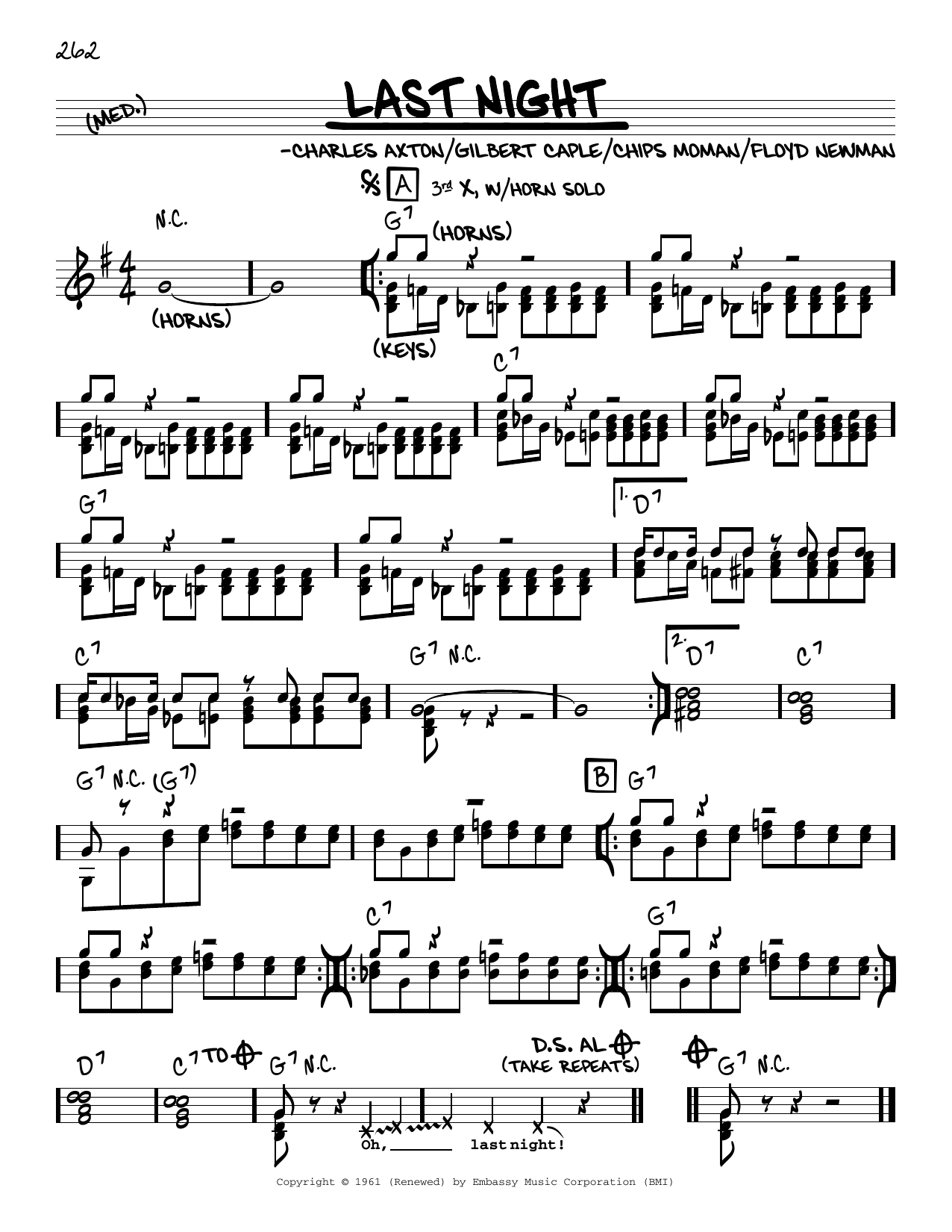 The Mar-Keys Last Night sheet music notes printable PDF score