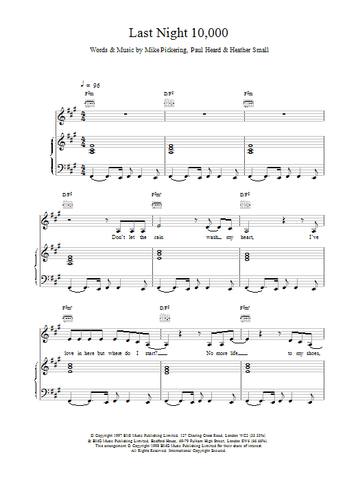 M People Last Night 10,000 sheet music notes printable PDF score