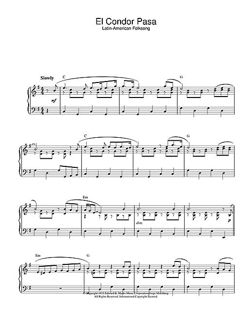 Latin-American Folksong El Condor Pasa sheet music notes printable PDF score