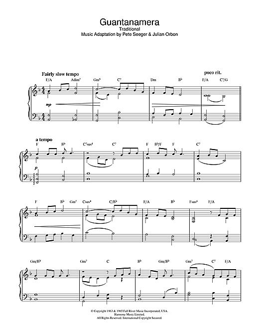Latin-American Folksong Guantanamera sheet music notes printable PDF score