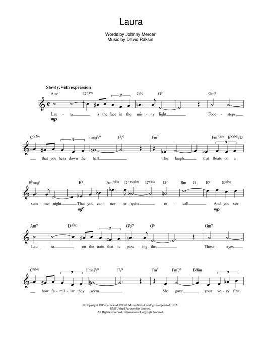 David Raksin Laura sheet music notes printable PDF score