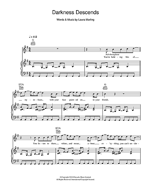 Laura Marling Darkness Descends sheet music notes and chords. Download Printable PDF.