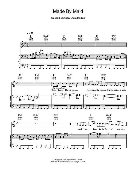 Laura Marling Made By Maid sheet music notes and chords. Download Printable PDF.