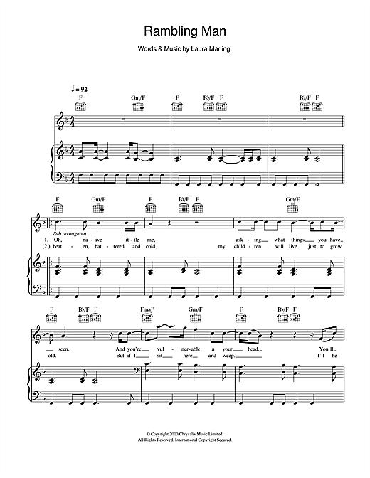 Laura Marling Rambling Man sheet music notes and chords. Download Printable PDF.