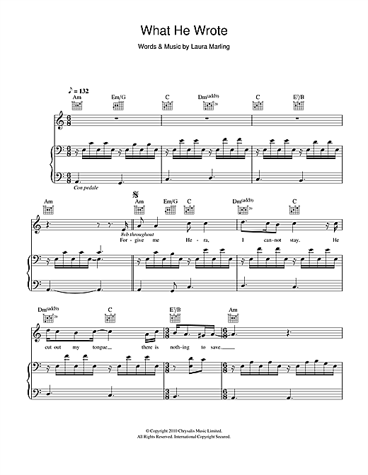 Laura Marling What He Wrote sheet music notes and chords. Download Printable PDF.