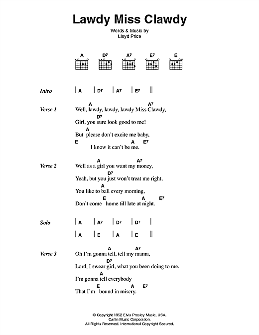 Elvis Presley Lawdy Miss Clawdy sheet music notes printable PDF score