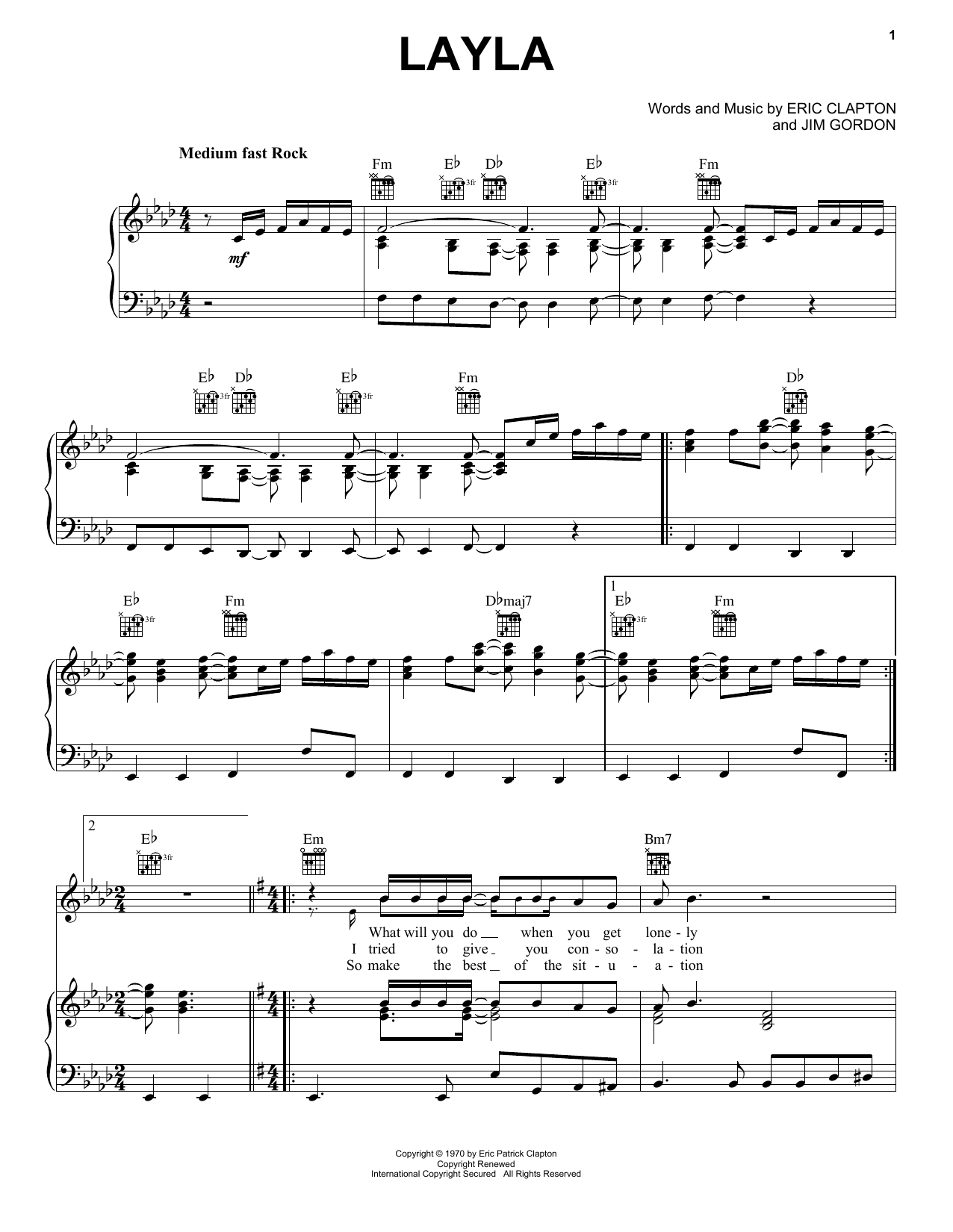 Derek And The Dominos Layla sheet music notes printable PDF score