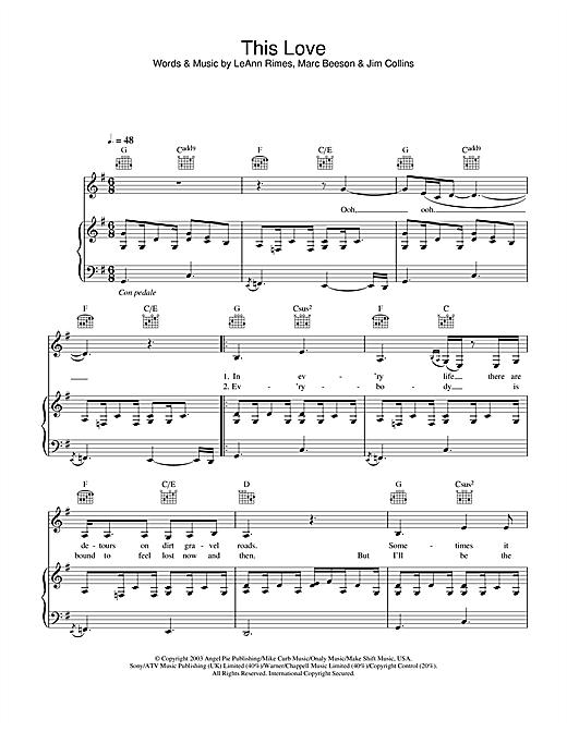 LeAnn Rimes This Love sheet music notes printable PDF score