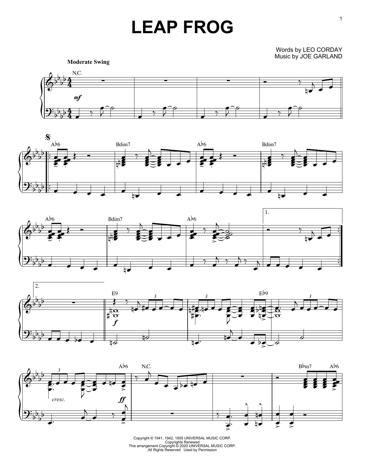 Chuck Alaimo Quartet Leap Frog [Jazz version] (arr. Brent Edstrom) sheet music notes printable PDF score