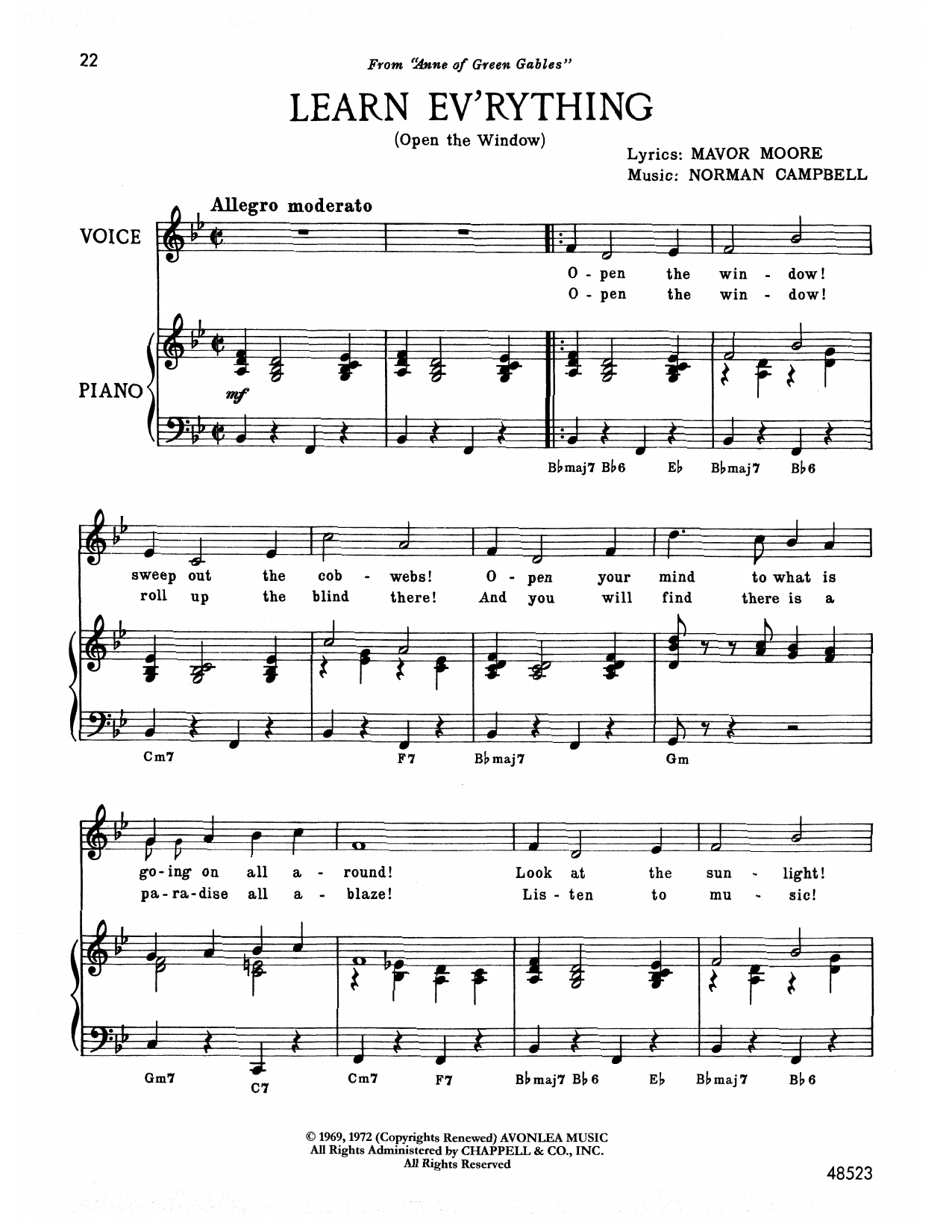 Norman Campbell Learn Ev'rything (from Anne Of Green Gables) sheet music notes printable PDF score
