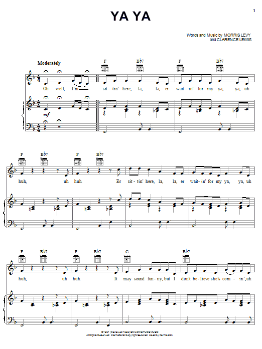 Lee Dorsey Ya Ya sheet music notes and chords. Download Printable PDF.