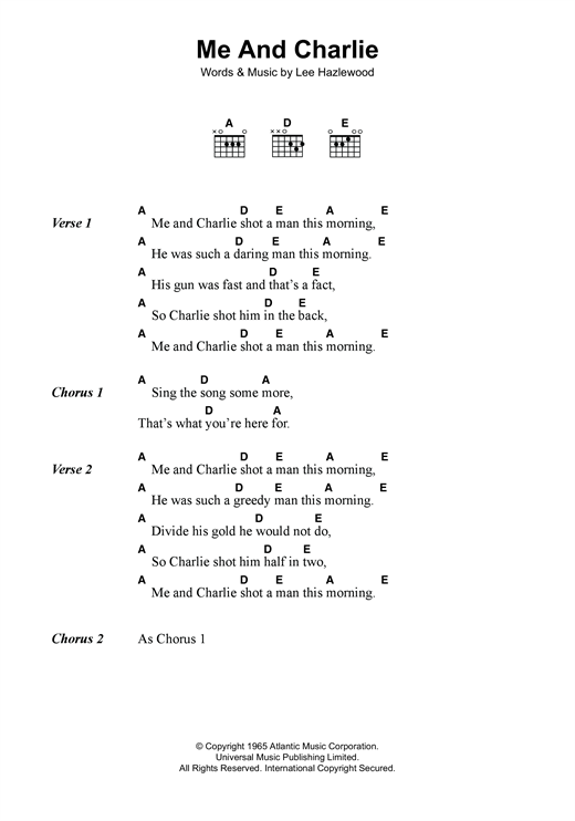 Lee Hazlewood Me And Charlie sheet music notes and chords. Download Printable PDF.