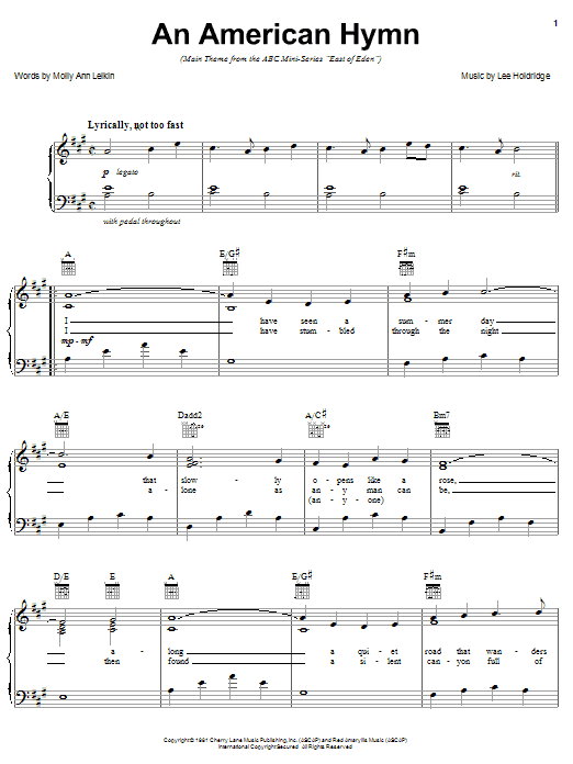 Lee Elwood Holdridge An American Hymn (main theme from East Of Eden) sheet music notes and chords. Download Printable PDF.