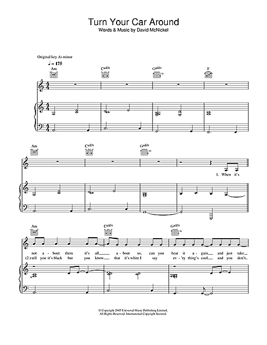 Lee Ryan Turn Your Car Around sheet music notes printable PDF score