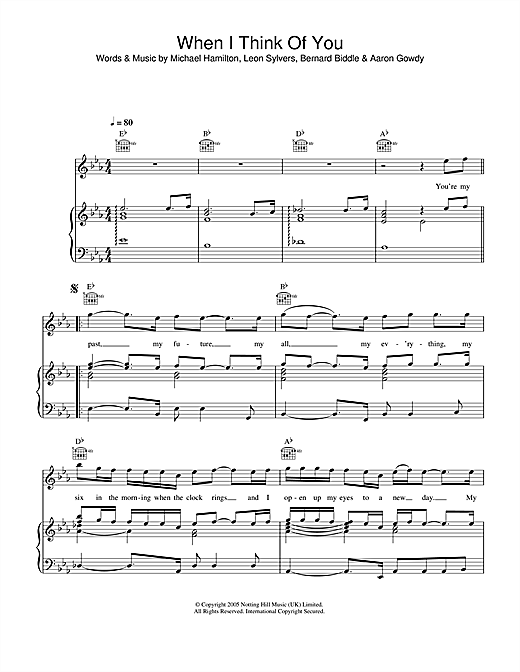 Lee Ryan When I Think Of You sheet music notes printable PDF score